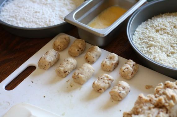 croquettas egg, flour, bread crumb station